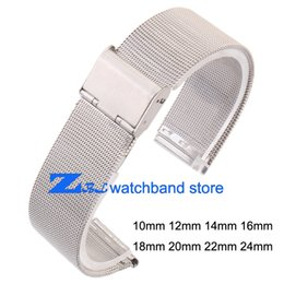 Wholesale 12mm watch band - Wholesale-ultra-thin Stainless steel Watchband Mesh strap silver bracelet 10mm 12mm 14mm 16mm 18mm 20mm 22mm 24mm Bracelets Watch band