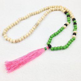 Wholesale Neon Rope Necklace - ST0242 Fashion Women Yoga Necklace Neon Pink Beaded Bohemian Tassel Necklace Long Summer Necklace Summer Necklaces Wood necklace