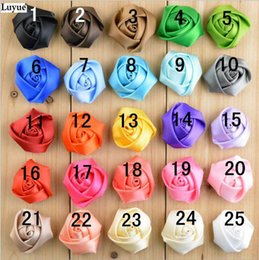 Wholesale Mini Rosettes For Headbands - 120pcs lot 1.5inch Mini satin ribbon rose flower satin rolled rosette for baby headbands hair accessories