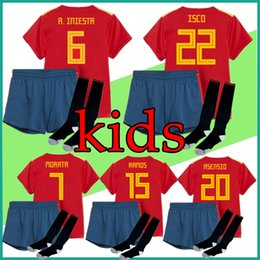 Wholesale Customs Children - kit Spain kids jersey 2018 World Cup Spain Soccer Jerseys boys home football kits uniform custom ISCO RAMOS MORATA child Soccer shirt Socks