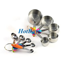 Wholesale Cup Spoon Handle - 10 Pcs Solid Sturdy Stainless Steel Measuring Cups Spoons Measure Dry Liquid Ingredients Soft Handles Kitchen Cooking Baking Tools #3980