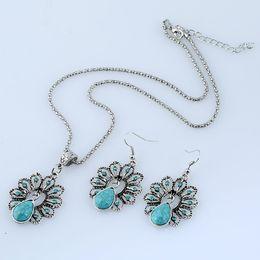 Wholesale Diamond Hollow Earrings - Beautiful Peacock Necklace Earrings Sets Fashion Jewelry Retro Folk Turquoise Hollow Diamond Peacock Jewelry Sets