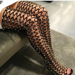 Wholesale Sexy Gladiators Shoes - 2016 Summer Knee High Gladiator Sandals Women Boots Open Toe Fashion Gold Metal Ladies Sexy High Heel Sandals Party Shoes