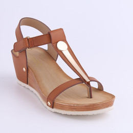 Wholesale Light Brown Wedges - HEYIYI Brand Women's Shoes Platform Wedge Soft PU Leather Sandal Large Size Shoes Woman Rivets Lightweight Blue Mid Heel Wholesale