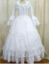 Canada (GT022) Womens Blanc manches longues gothique VictorianLolita robe robe de bal fantaisie robe de bal fête d'Halloween masquerade Costumes Offre