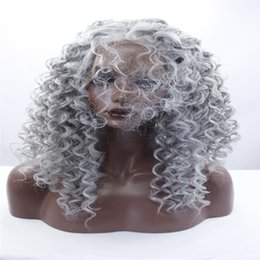 Wholesale Medium Length Hair Wigs - New Women Long Ombre Black Grey Mix Lace Front Wig Heat Resistant Hair Wavy Wigs Synthetic Lace Front Wig Mixed an Color Hair Length Hair