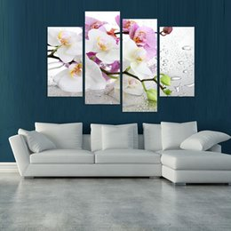 Wholesale Picture Painting Ideas - 4 Panels white flowers plant art Wall painting print on canvas for home decor ideas paints on wall pictures framed F 1181