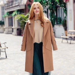 Wholesale Winter Coats Camel Color - 2017 New Winter Women's Camel slim Single Breasted Coat Long Sleeved Wool Tweed Coat for women
