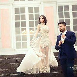 Wholesale Detachable Long Sleeve Bridal - 2017 Sheer Neck Sheath Beach Wedding Dresses Illusion Bodice Full Long Sleeves With Detachable Tulle Floor Length Sweep Train Bridal Gowns