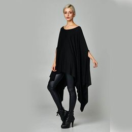 Wholesale Plus Size Batwing - 8-Color XL Dress Fashion Loose Cloak Irregular Bat Sleeve Dress