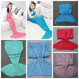 Wholesale Knit Cocoons - 9 Colors 140*70cm Mermaid Knitted Blankets Kids Mermaid Tail Blankets Sleeping Bags Crochet Cocoon Mattress Mermaid Blanket CCA7393 100pcs