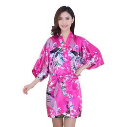 Wholesale Kimono Robe Xxl Women - Wholesale-Essential Women Silk Satin Long Wedding Bride Bridesmaid Robe Peacock Bathrobe Floral Kimono Robe Size M~XXL