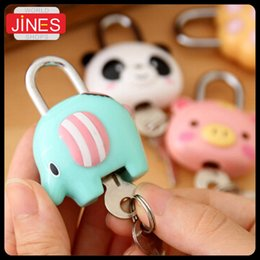Wholesale cute lock key - 5 pieces Lot Cute Cartoon Doll Animal Mini Silicone Metal Padlock Anti-thief Security Lock with Key For Lage Drawer