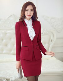 Wholesale Suit Jacket Women Designs - Wholesale-New 2016 Autumn Winter Uniform Design Professional Business Work Suits Jackets And Skirt Office Ladies Outfits Clothing Set