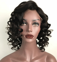 Wholesale Super Black Hair - Full Lace wigs Natural Color Super Wave Human Hair Wig Lace Front Wig Loose Wave Brazilian Hair Full Lace Wigs For Black Women