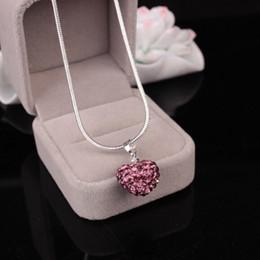 koreanische perlen halskette Rabatt Koreanische Kristall Herzform Anhänger Halskette Silber überzogene Schlange Ketten Strass Disco Bead Charme für Frauen Modeschmuck
