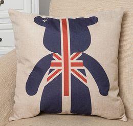 "Wholesale Decorative Pillows England - Cotton Linen Throw Cushion Pillows Core Included Square England Bear Seat Cushions Home Decorative Textiles Souvenir 18""X18"""