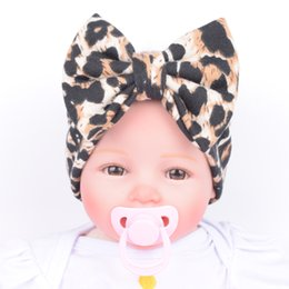 Wholesale Leopard Hair Style - New Baby Girls Headbands Europe Style leopard big wide bowknot hair band headwear 4 colors Children Hair Accessories Kids Headbands Hairban