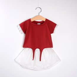 Wholesale Girl Outfits Korean - 2016 Summer Girl Clothing Sets Children Lace Short Sleeve T-shirt+Tutu Skirt 2pcs Kids Outfits Baby Girls Clothes Girl Korean Style Suit
