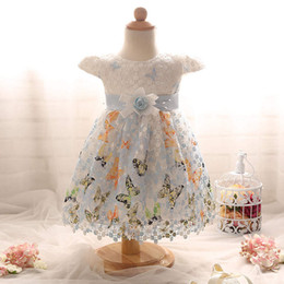 Wholesale Color Embroidered Wedding Dresses - butterfly hook flower baby girl princess skirt chiffon lace yarn skirt infant dress children dress infant toddler wedding dress boutiques