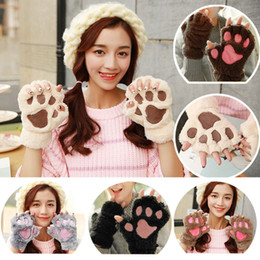 Wholesale Cute Table Tennis - Cute Winter Warm Women Girls 14 Colors Fluffy Plush Mittens Cat Bear Paw Claw Glove for Party Cosplay