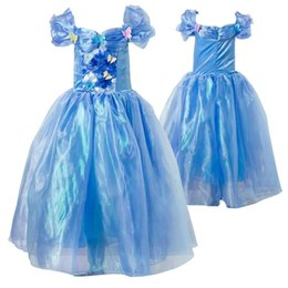 Wholesale Girls Dresses Suspender Lace - girls cinderella butterfly dress party princess ball gown children girls cinderella costumes dress blue birthday dress free shipping