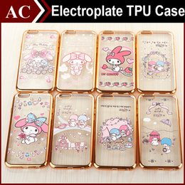 Wholesale Melody Case - My Melody Electroplated Soft TPU Case For iPhone 6 6S Plus Galaxy S7 Edge Cartoon Gold Shockproof Cover Cute Lovely Colored Print Back Skin