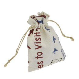 Wholesale Burlap Sacks - 10x14cm Jewelry Bags Printed Cotton Linen drawstring Package bags Sack Jewelry Pouches wedding bomboniera Gift burlap bags Snowman Style