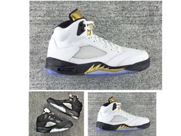 Wholesale Discount Leather Shoes For Women - Gold Medal 5s V mens basketball shoes sneaker for sale discount cheap prices women 5 White gold black metallic sliver