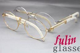 Wholesale 55 Mm - High quanlity Factory direct sale 7550178 White Buffalo horn Eyeglasses popular Brand Glasses Size:55-22-135 mm