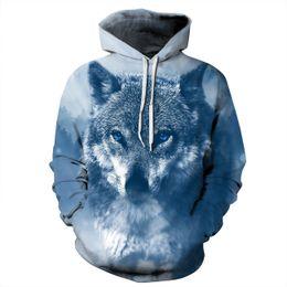 Wholesale Head Snow - Men's Long Sleeve 3D Digital Print Snow Wolf Heads Lover's Design Sports Pullover Hoodies Fashion Hoodies Baseball Outwear