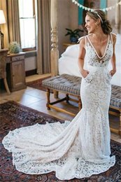Wholesale Cheap Pocket Trumpet - Sexy Lace Backless Mermaid Wedding Dresses With Pockets Cheap Illusion Deep V Neck Long Trains Beach Bridal Gowns
