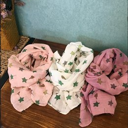 Wholesale Love Fashion Scarves - 17colors Kids cotton ramie scarf 145x32cm boys girls cartoon printing carrot stars loving heart pattern shawl kids fashion neckwear