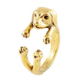 Wholesale Bull Jewelry - Retro Hippie Bull Terrier Dog Ring Jewelry Animal Lovers Alloy Ring Creative Jewelry Animal dog Rings For Pet Lovers Wholesale