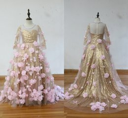 Wholesale performance images - 100% Real Image!Gold Sequins Pink Flowers Girls Pageant Dresses Sheer Neck Long Sleeves Ball Gown Girls Performance Birthday Party Dresses