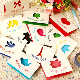 Wholesale christmas stationery free shipping - Free Shipping 30pcs lot Mini Greeting Card With Envelopes Universal Wishing Cards Christmas Message Card Stationery Material Escolar