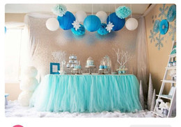 Wholesale Cheap Baby Supplies - 2016 Cheap Table Skirt Turquoise Tutu Table Decorations for Wedding Event Birthday Baby party Bridal Showers Party Tutu Wedding Supplies