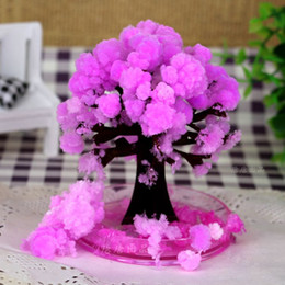Wholesale Pink Artificial Christmas Trees - iWish 2017 Visual Artificial Japanese Magic Sakura Paper Trees Magical Christmas Growing Tree Desktop Cherry Blossom Toys For Children 50PCS