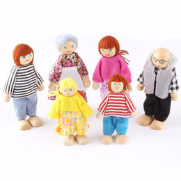 Wholesale Dolls Houses Wooden - 6 PCS Set Action Figure Wooden Toy House Pretend Doll Family Children Kids Playing Doll kids toys
