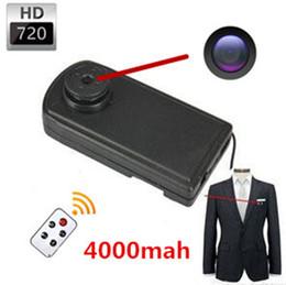 Wholesale Big Camcorder - 4000mA Big Battery 720P H.264 Mini Covert Hidden Button Camera DVR Camcorder, Remote Control Body Worn Camera Mini Button with Camera