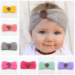 Wholesale Warmer Stick - 16 color New Baby Girls Fashion Wool Crochet Headband Knit Hairband With Button Decor Winter Newborn Infant Ear Warmer Head Headwrap