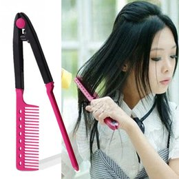 Wholesale Type Hair Clips - Wholesale-Women Ladies V Type Hair Straightener Comb Curly Straight Hair Comb V Type Clip-On Style DIY Hairdressing Styling Tool