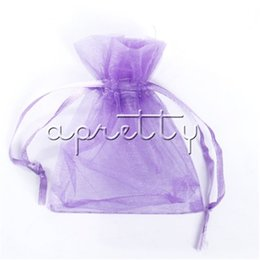Wholesale Jewelry Pouches Purple - Light Purple Organza Bags Jewelry Packaging Bags 100 pcs lot 7x9 cm Christmas  Wedding Party Decoration Drawable Bags Gift Pouches