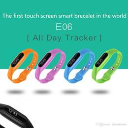 bluetooth armbänder armbänder Rabatt 2015 New E06 Bluetooth Smart-Armband-Uhr-OLED-Touch-Screen-Armband-Armband Wasserdicht IP67 für iPhone 6 und Samsung freies DHL