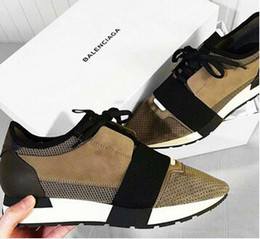 Wholesale Top Brands Trainers - 2018Name Brand Patchwork Man Woman Lace-up Trainer Casual Shoes Fashion Luxury Nude Mixed Colors Low Top zapatos Mujer Race Runner