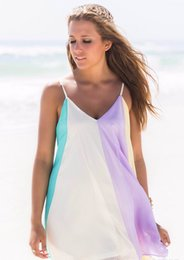 Wholesale Summer Rainbow Beach Dress - 2016 Womens Party Mini Dress Chiffon Rainbow Summer Beach Casual Vest Top Women Explosion Models Summer Chiffon Dress Rainbow Women Dresses