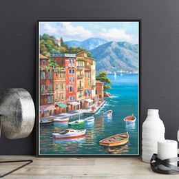 Wholesale Canvas Pier - Framed Venice Pier DIY Painting By Numbers Drawing By Painting Kits Painting Hand Painted On Canvas For Home Wall Art Picture Home Decor
