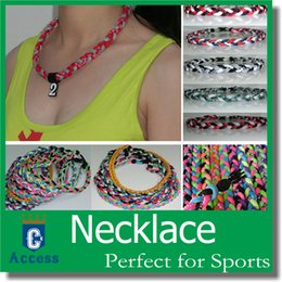 Wholesale Sports Rope Necklaces - wholesales tornado titanium braided necklace 3 ropes sports power customize necklaces
