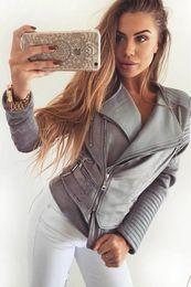 Wholesale Outwear Jacket Woman Leather - 2017091911 Gray Zipper Suede Faux Leather Jacket Women Autumn Winter Black Basic Jackets Casual Outwear Slim Coat 2017