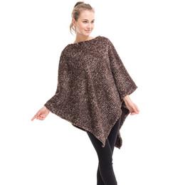 Wholesale Plus Size Poncho Cape - Fashion Plus Size Women's Polyester Plaid Cardigan Turtleneck Cape Batwing Sleeve Knit Poncho Sweater Female Stripes Scarf